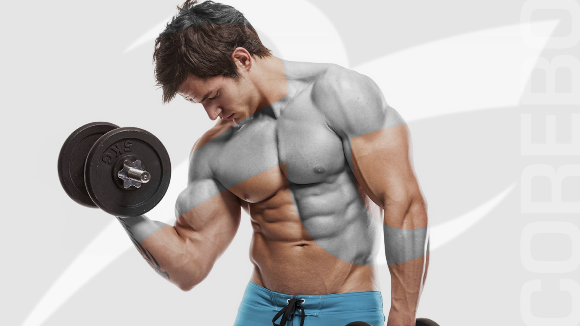 Close up of young muscular man lifting weights over dark backgro