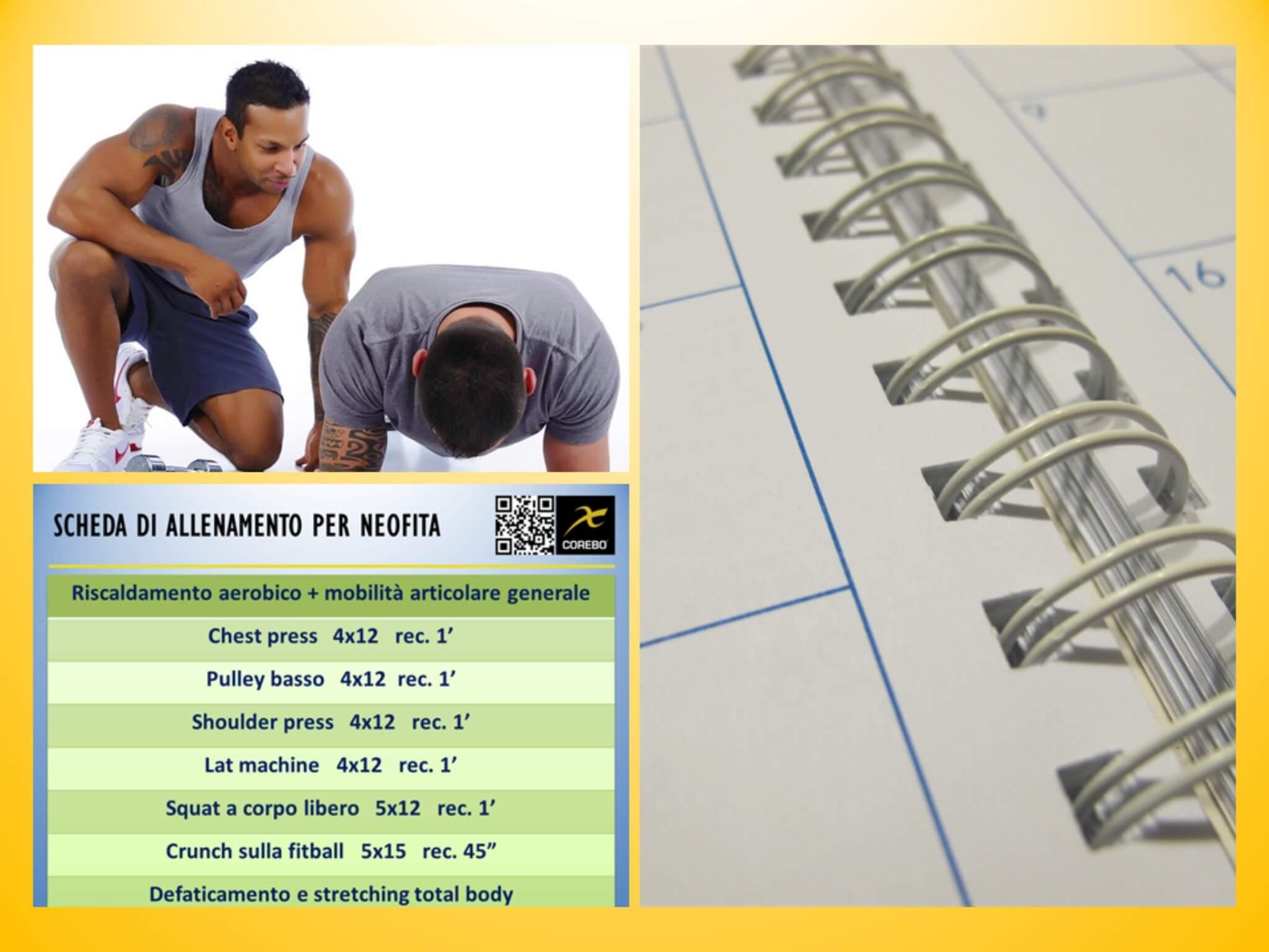 scheda di allenamento per neofiti
