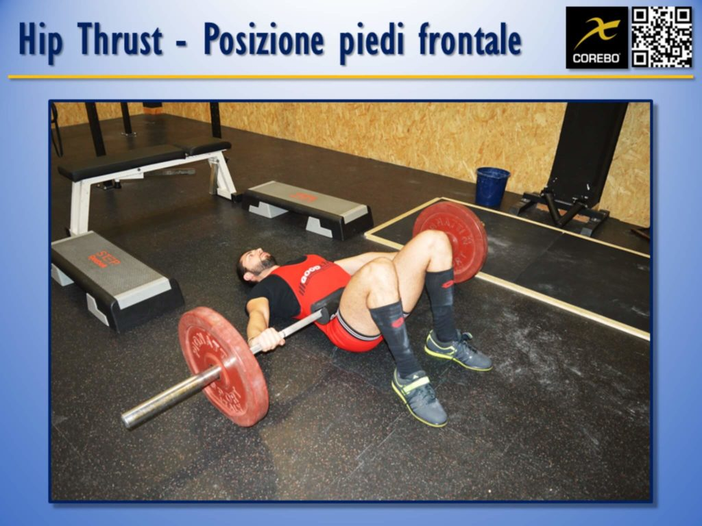 Hip Thrust La posizione dei piedi in vista frontale