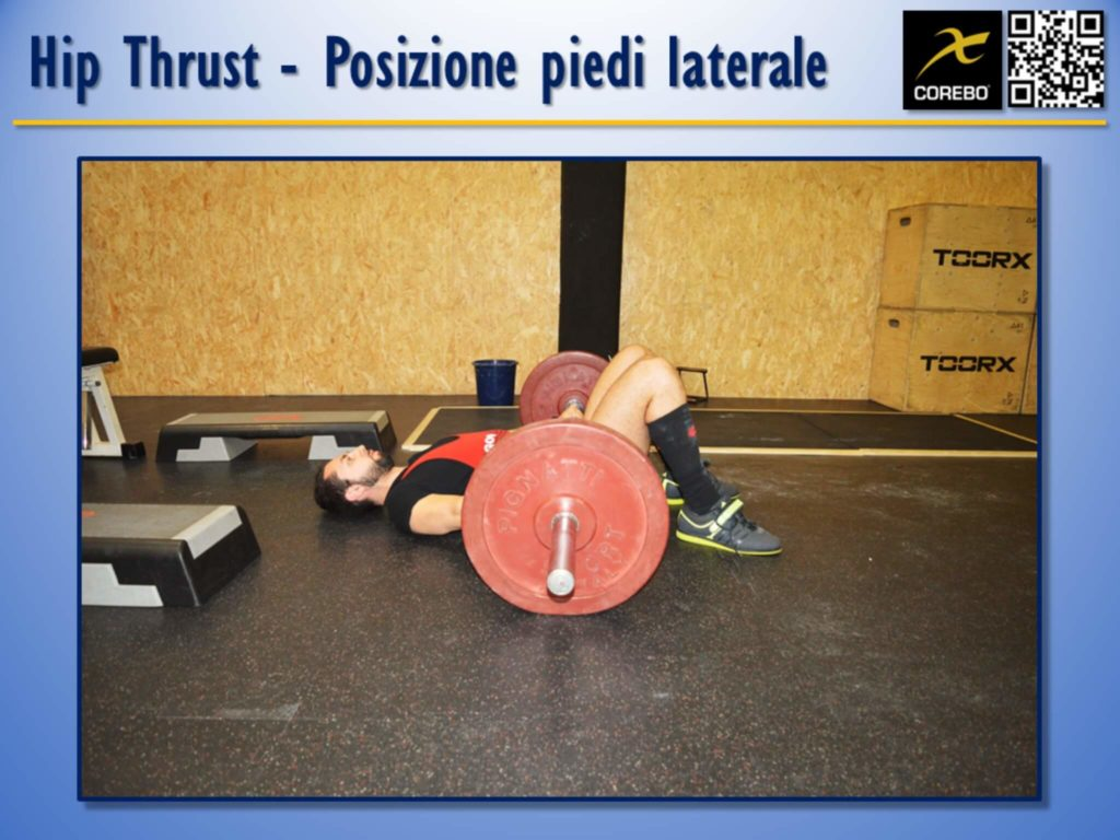 La posizione dei piedi n vista laterale all'Hip Thrust