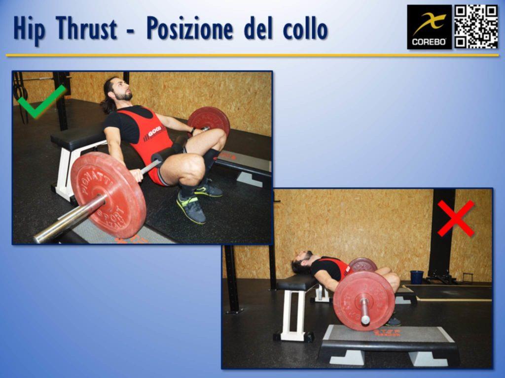 La posizione del collo all'Hip Thruster