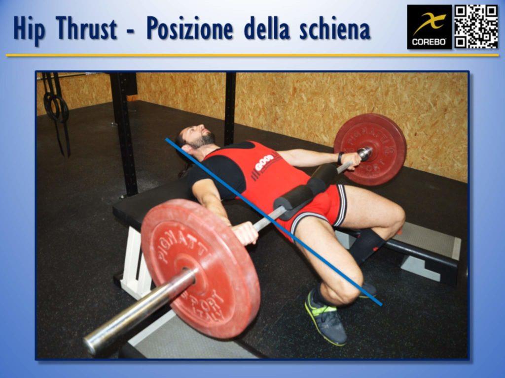La posizione della schiena all'Hip Thrust